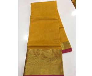 pure Handloom Cotton Kota Sarees With Weaving Border Yellow