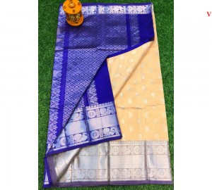 Kanchi Kuppadam Allover Buta Cream With Blue Saree
