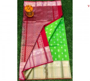 Kanchi Kuppadam Allover Buta Green With Red Saree