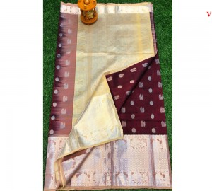 Kanchi Kuppadam Allover Buta Maroon With Cream Saree