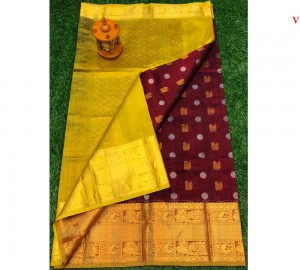Kanchi Kuppadam Allover Buta Maroon With Yellow Saree