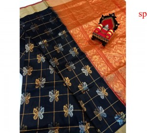 Latest Uppada Butterfly Design Black With Red Saree