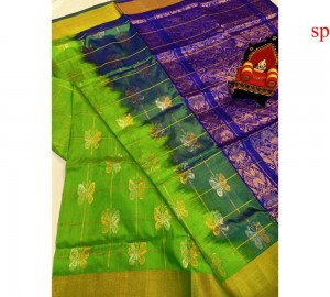 Latest Uppada Butterfly Design Green With Blue Saree