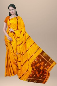 Chanderi Pochampally Cotton Saree Yellow Color