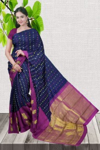 Good Looking Blue With Pink Color Kanchipuram Saree