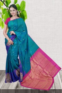 Gorgeous Peacock Green with Pink Color Kanchipuram Saree