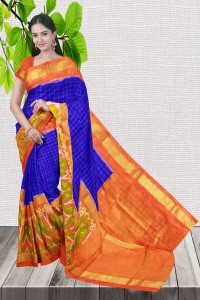 Attractive Blue with Orange Color Ikkat Saree