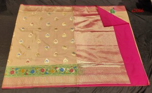Banaras Semi Silk Beige Color Saree