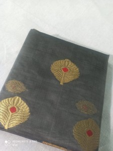 Chanderi Handloom Saree Grey Color