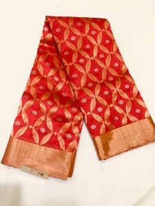 Chanderi Handloom Saree Red Color