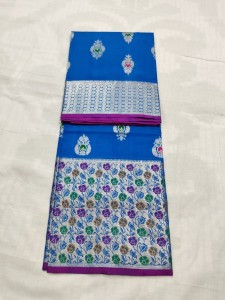 Ananda Blue Venkatagiri Pure Silk Saree