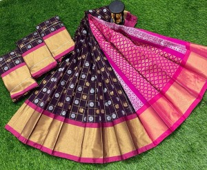 Dark Purple And Pink Chanderi Kuppadam Saree