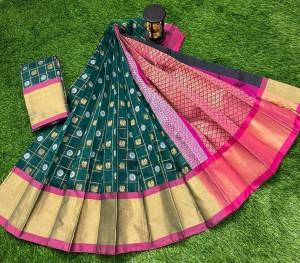 Dark Green And Pink Chanderi Kuppadam Saree