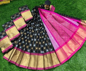 Black and Designed Pink Chanderi Kuppadam Saree