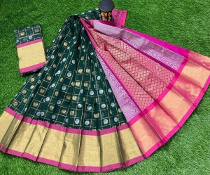 Dark Green And PinkChanderi Kuppadam Saree