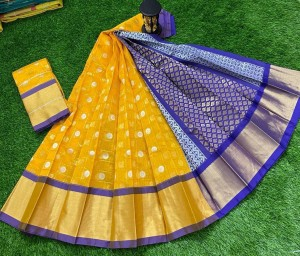 Honey Yellow Chanderi Kuppadam Saree With Blue