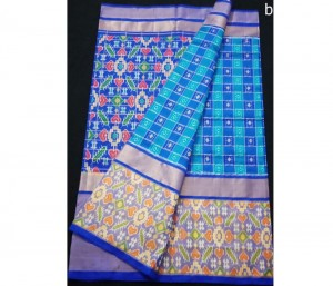 Ananda Blue and Blue Checks Design Pure Ikkat Silk Saree