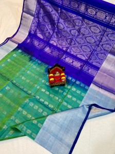 Pure Uppada Silver Butta With Rich Pallu Blue  Saree