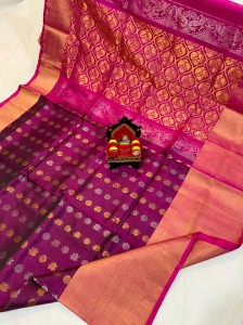 Pure Uppada Silver Butta With Rich Pallu Pink Saree