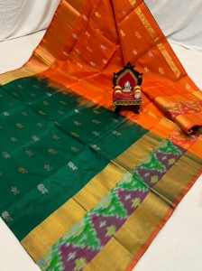 Pure Uppada Butta saree with Pochampally Border Green  Saree