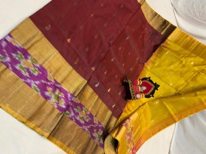 Pure Uppada Butta saree with Pochampally Border Maroon Saree