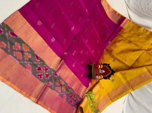 Pure Uppada Butta saree with Pochampally Border Pink  Saree