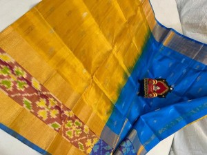 Pure Uppada Butta saree with Pochampally Border  Yellow Saree