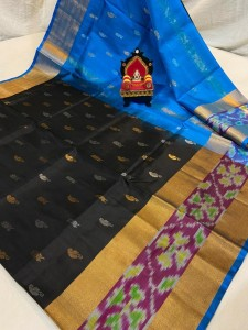 Pure Uppada Butta saree with Pochampally Border Black  Saree