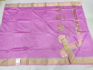 Lavender Color Chanderi Handloom Saree