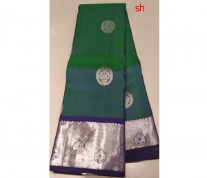 Kanchi Pure Silk Saree Bottle Green Color