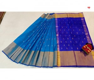 Ananda Blue and Blue Uppada Butta Saree