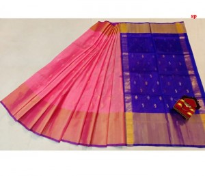 Baby Pink and Blue Uppada Butta Saree