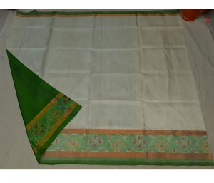 Uppada Silk Saree Pochampally Border Half White Color