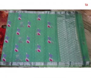 Pure Zari Kota Doria Handloom Saree Light Green Color