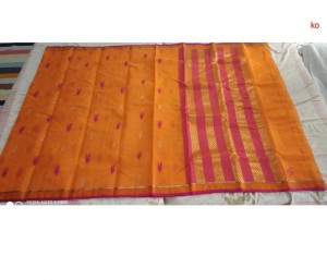 Mustard Yellow Pure Zari Kota Doria Handloom Saree With Blouse