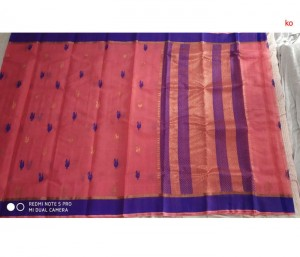 Pink Pure Zari Kota Doria Handloom Saree With Blouse
