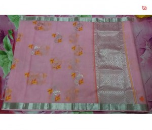 Pure Zari Kota Doria Handloom Saree Baby Pink Color