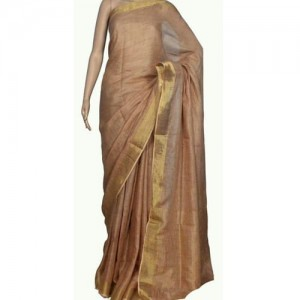 Lenin Biscuit Color Silk Saree