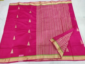 Dark Pink Chanderi Handloom Saree