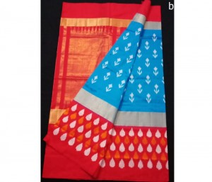 Ananda Blue Butta Design Pure Ikkat Silk Saree
