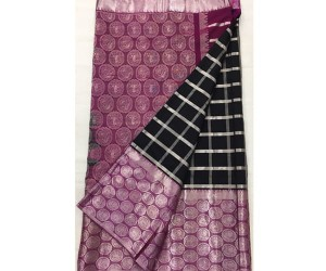 Balck Pure Gadwal Silk Saree