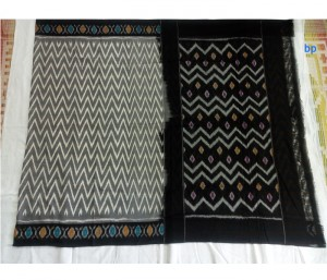 Balck Pure Ikkat Cotton Saree