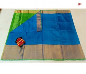Ananda Blue Pure Uppada Big Border Silk Saree