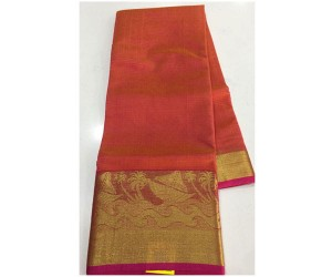pure Handloom Cotton Kota Sarees With Weaving Border Red Shade