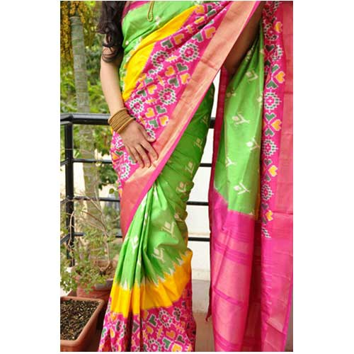 256c83ae2a4d38 Parrot Green and Pink Pure Ikkat Silk Saree